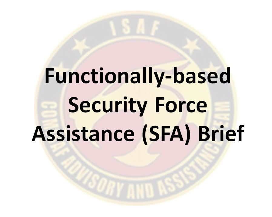 Video brief on Functionally-based Security Force Assistance (SFA)