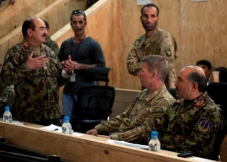 Afghan member of OCC-R East briefs Cdr of RC East
