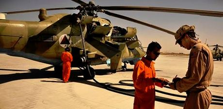 Fueling an Afghan Helicopter