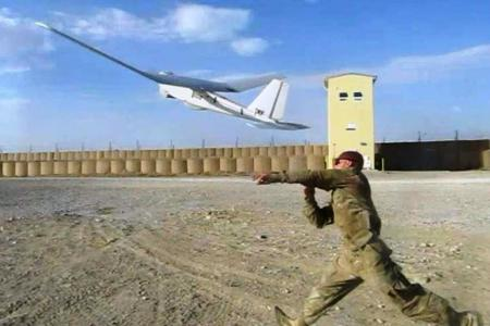 Puma UAV is launched by member of 6/8 Cav at FOB Shank, Afghanistan