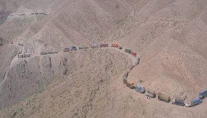 Jingle Trucks on Road in Afghanistan