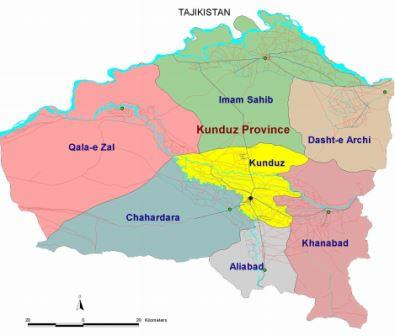 Map Kunduz Province - UNAMA Feb 2010
