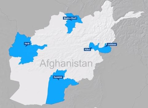 Map of Four Corners of Resolute Support