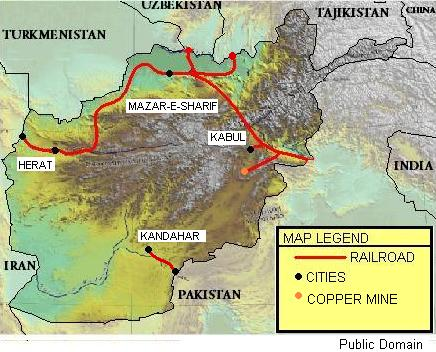 Map of Planned Railroads for Afghanistan