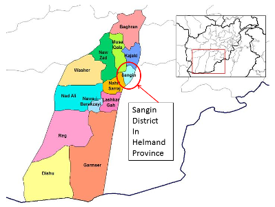 Map of Sangin District Helmand Province Afghanistan